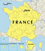 Frankrijk versus Hongarije - Kaart van Frankrijk