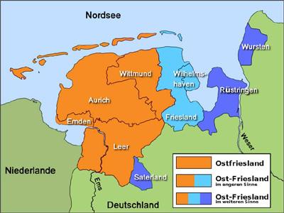 Landenvergelijk: Groningen versus Ostfriesland / Kaart van Ostfriesland